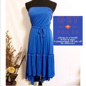 Faded Glory Blue Strapless Ruffle Sundress M 8-10